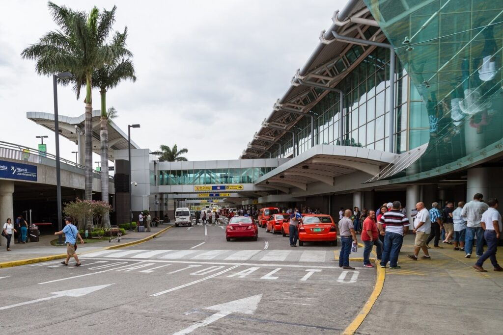 the outside of the international airport in San Jose, Costa Rica