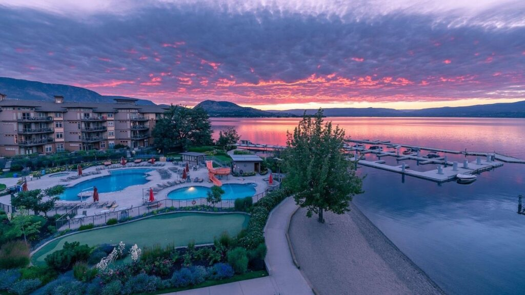 view of the Cove Lakeside Resort at sunset in West Kelowna