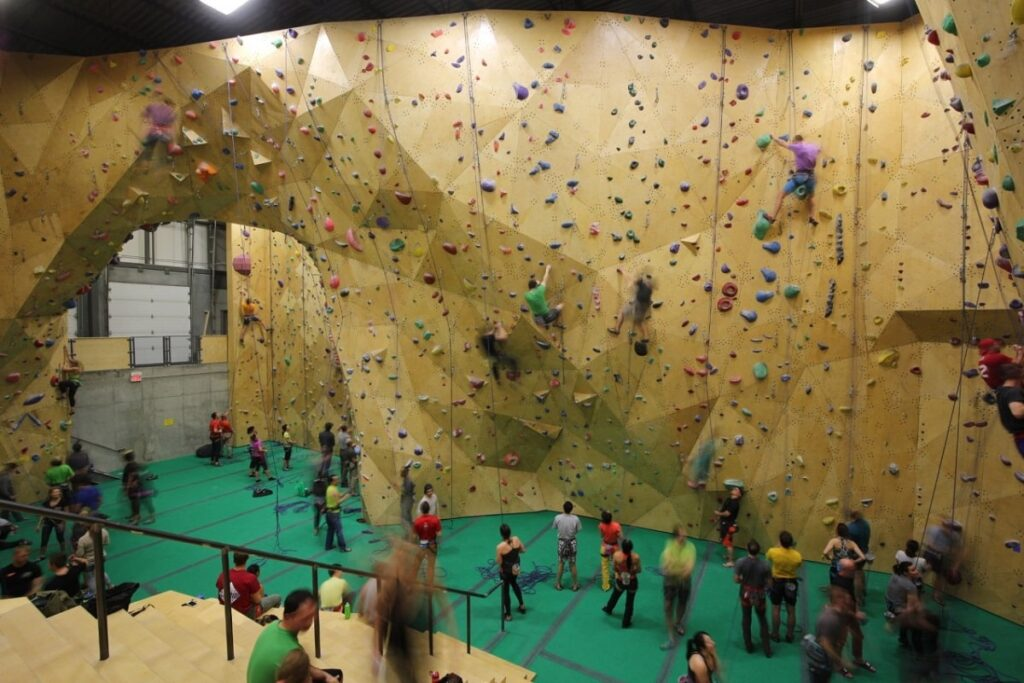 the inside of one of the Calgary Climbing Centres