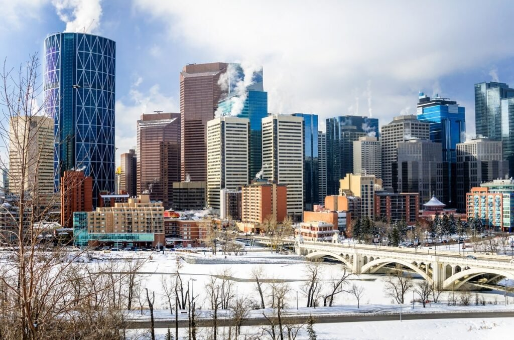 view of Calgary in the wintery month of December